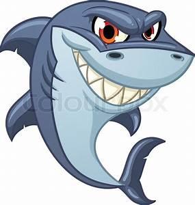 Cool cartoon shark. Vector illustration with simple ...