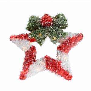 16, U0026quot, Lighted, Tinsel, Red, U0026, White, Star, Wreath, With, Bow, Christmas, Window, Decoration