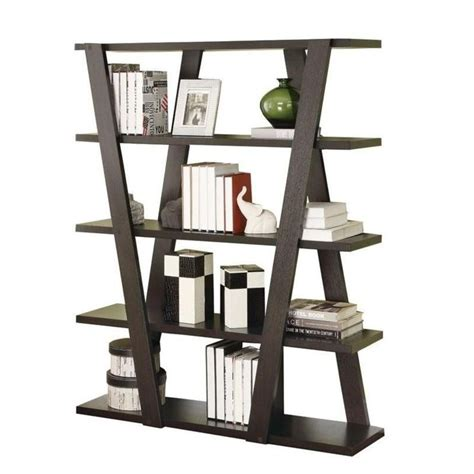 Narrow Open Bookshelf by Modern Bookshelf With Inverted Supports Open Shelves