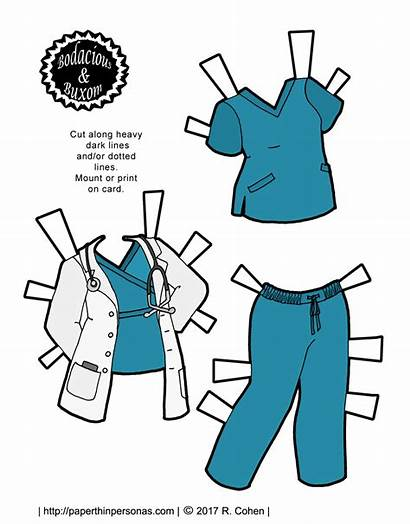 Doll Nurse Paper Doctor Printable Outfit Scrubs