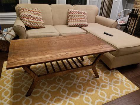 Mid century modern teak dining table w/pull out leaves. Red oak mid century modern coffee table. : woodworking