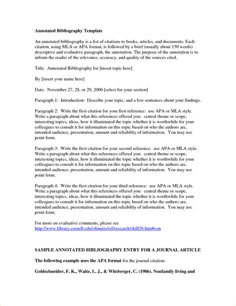Annotated Bibliography Template Annotated Bibliography Mla Template Business