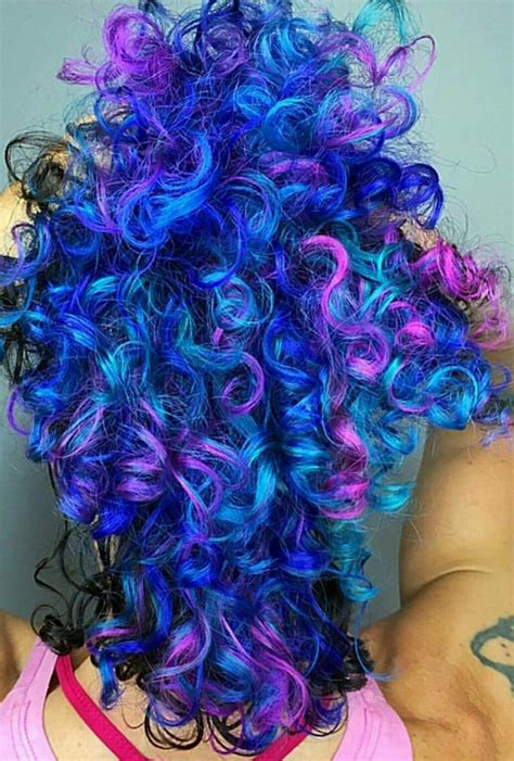 Blue Purple Mixed Dyed Curly Hair Iroirocolors Hair