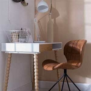 Chaise Designer OMG Skin Cuir Marron Marron Gris Bleu