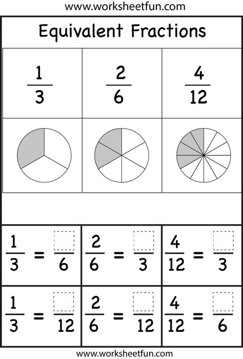 Equivalent Fractions Worksheets  Printable Worksheets  Pinterest  Fractions Worksheets