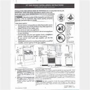 Frigidaire 30 Inch Gas Range Installation Instructions