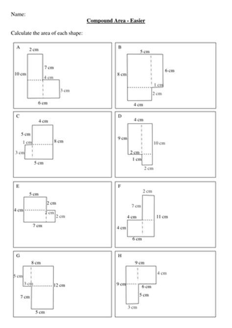 maths ks2 ks3 compound areas worksheet by bluberry24 teaching resources