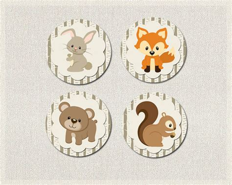 Baby Shower Woodland Cupcake Toppers Woodland Baby Shower