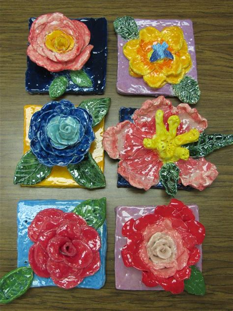 grade ceramic flower sculptures glazed  speedball