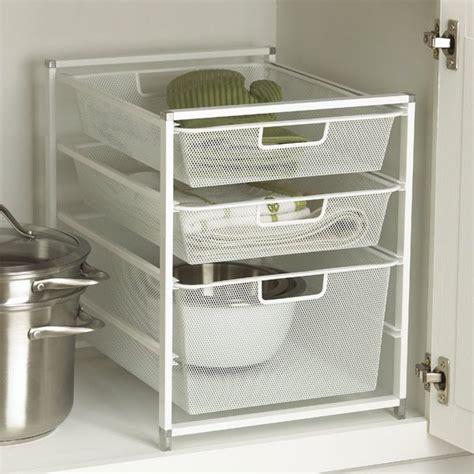 white cabinet sized elfa mesh drawers sink