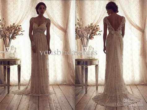 2013 V Neck Empire Sleeves Lace Wedding Dresses Cheap