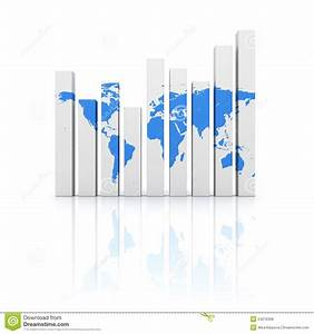 Business Diagram Graph With Blue World Map Stock
