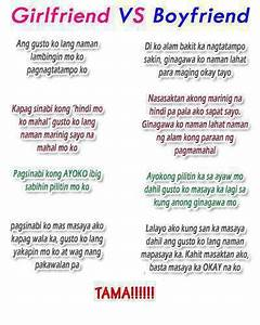 Tagalog Girlfriend vs Boyfriend Quotes Image | Pinoy Trend ...