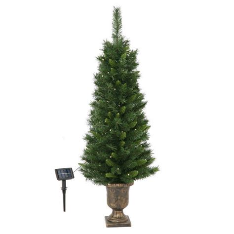 4 ft potted christmas tree solar powered fir pre lit