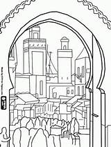 Coloring Morocco Pages Medina Bali Houses Buildings Fes Colouring Printable Adult Bustle Cityscapes Landscapes Colour El Oldest Walled Oncoloring Drawing sketch template