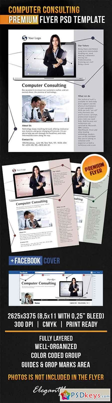 computer psd templates download computer consulting flyer psd template facebook cover