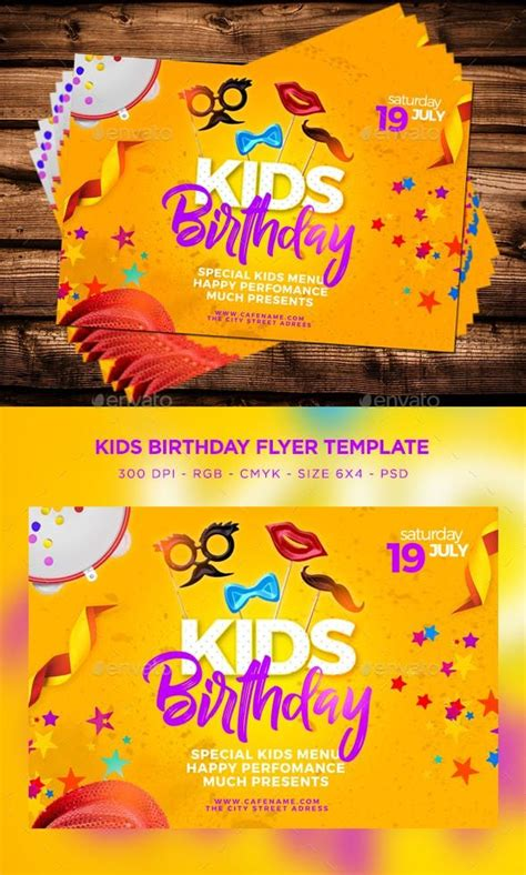 Kids Birthday Flyer Photoshop PSD #fantasy #cool
