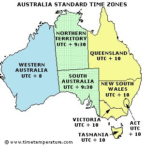 australia time zone map