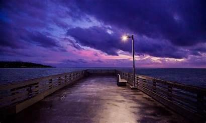 4k Dock Sky Sunset Wallpapers Purple Pier
