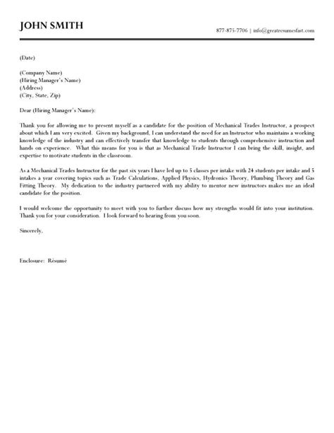 Cover Letter Sles For Trades by Mechanical Trades Instructor Cover Letter