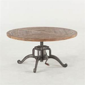 industrial round coffee table recycled wood iron With round wood and iron coffee table