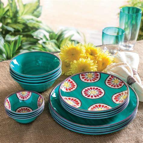 melamine dinnerware dishes outdoor piece sets bpa teal plates unbreakable plastic indoor tableware garden rated gatherings