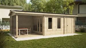 Gartenhaus 3 X 3 M : gartenhaus super nora e mit terrasse und schuppen 15 m2 8 x 3 m 44 mm hansagarten24 ~ Whattoseeinmadrid.com Haus und Dekorationen