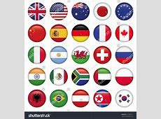 Set Round Flags World Top States Stock Vector 137660771