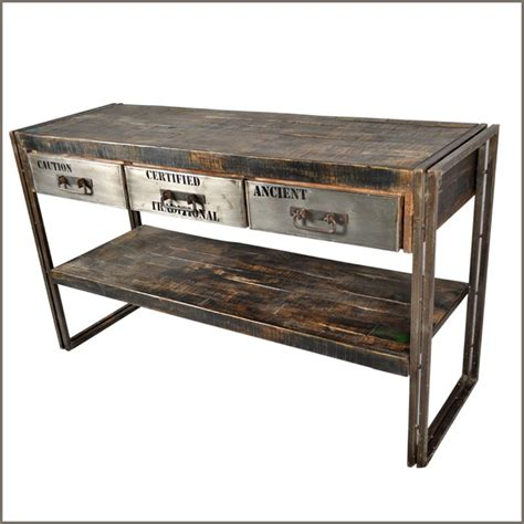 metal console table with drawers industrial museum 3 drawer reclaimed wood iron hall