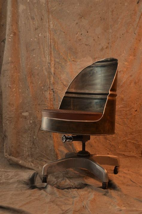 industrial office chair barrel style with vintage base