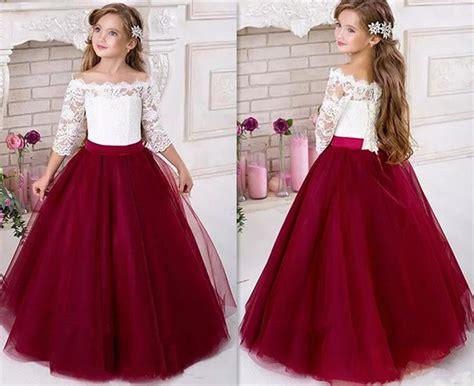 Lace 2017 Half Sleeves Tulle Flower Girl Dresses Custom