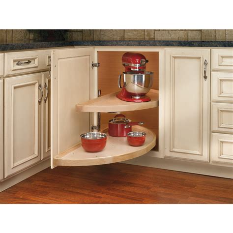 Home Depot Unfinished Cabinets Lazy Susan by Shop Rev A Shelf 2 Tier Wood Half Moon Cabinet Lazy Susan