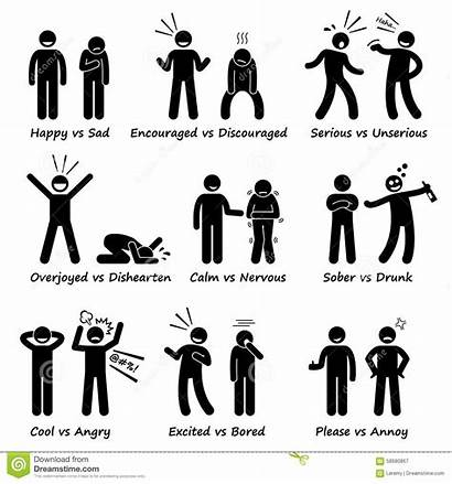 Emotions Feeling Opposite Stick Figure Pictogram Vector