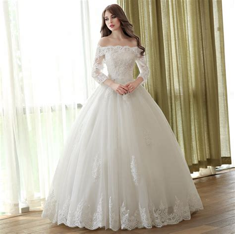 Off Shoulder Lace Ball Gown Wedding Dresses 34 Sleeve