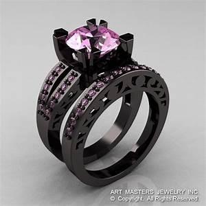 modern vintage 14k black gold 30 carat light pink With black and pink wedding rings