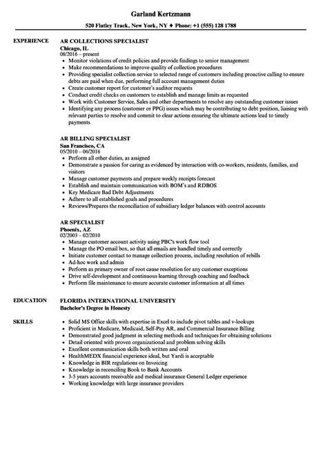 Ar Resume by Ar Specialist Resume Sles Velvet