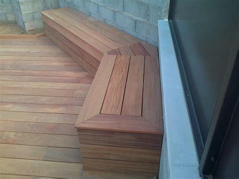 plan banc bois banc de rangement pour tour de piscine en bois exotique