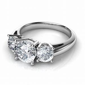 Trilogy 3 stone diamond engagement ring for Wedding rings to go with solitaire engagement ring