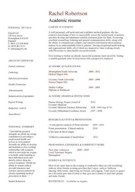 An Exle Of A Cv For A by 5 Academic Cv Templates Word Word Excel Templates