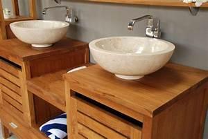 Meuble De Salle De Bain En Bois Massif : vasque sur meuble de salle de bain en bois massif bain ~ Edinachiropracticcenter.com Idées de Décoration