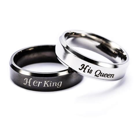 2019 couple rings cheap rings simple engagement rings jewelry letter king queen ring stainless