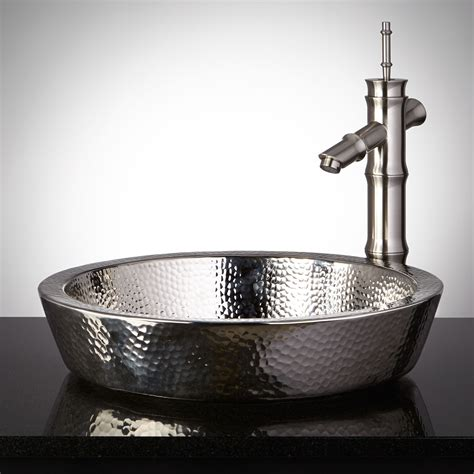 four kitchen faucet semi recessed copper sink hammered polished nickel