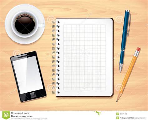 bloc note sur bureau bloc notes sur la vue de bureau de bureau illustration de