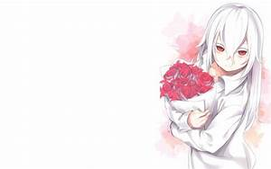 Wallpaper Anime Girl, White Hair, Flowers, Red Eyes ...