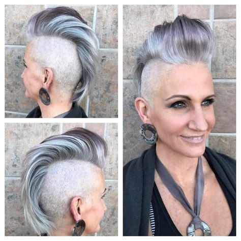Women's Silver and Grey Faux Hawk Pixie Cut with Pompadour