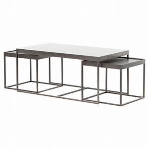 Nash industrial loft white marble iron nesting coffee table for White nesting coffee table