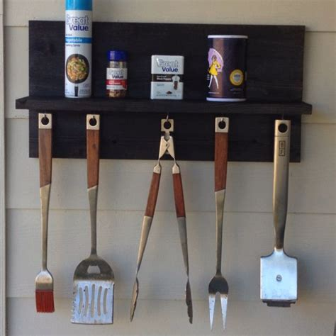 repurposed bbq utensil shelf   scrap wood