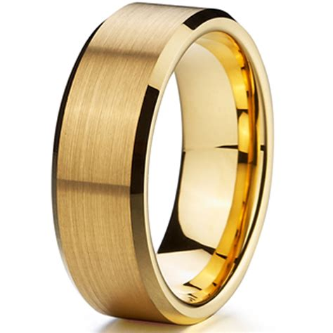 cheap classic gold ion plating tungsten mens wedding ring