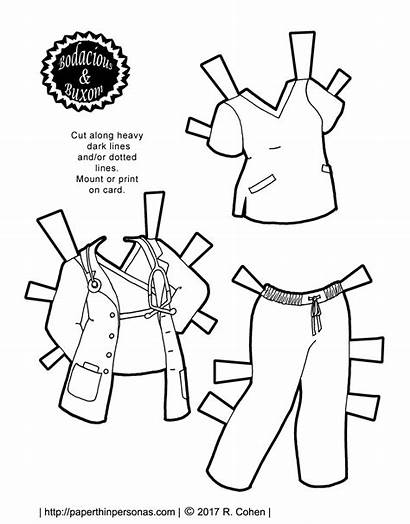 Nurse Doctor Doll Paper Coloring Printable Outfit