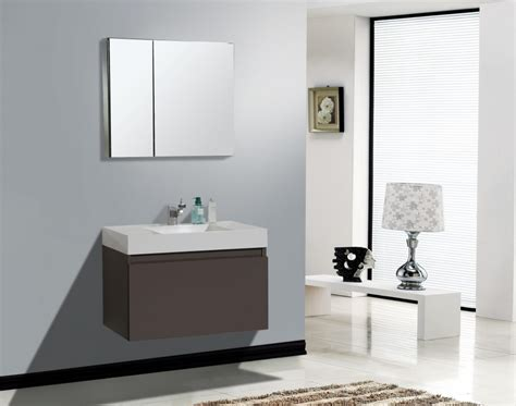 In Vogue Small Floating Gray Bathroom Vanity With Single